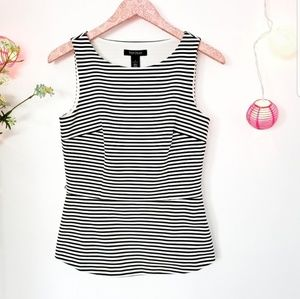 WHITE HOUSE BLACK MARKET peplum striped blouse 2